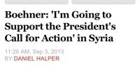 Boehner Snatches Defeat from the Jaws of Victory–Supports Obama on Syria